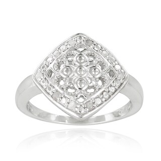 DB Designs Sterling Silver 1/10ct TDW Diamond Filigree Medallion Ring