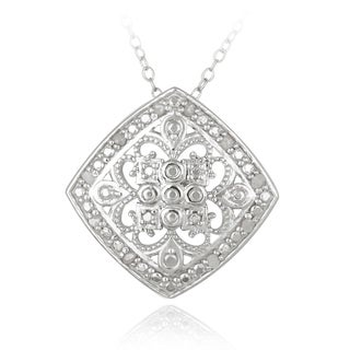 DB Designs Sterling Silver 1/10ct TDW Filigree Medallion Diamond Necklace