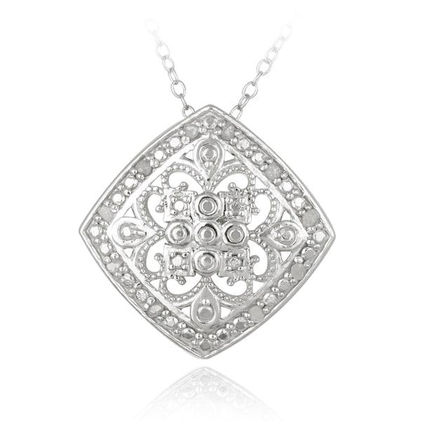 DB Designs Sterling Silver 1/10ct TDW Filigree Medallion Diamond Necklace