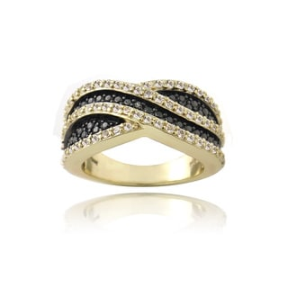 Glitzy Rocks Gold over Silver White Topaz and Champagne Diamond Accent Curve Ring