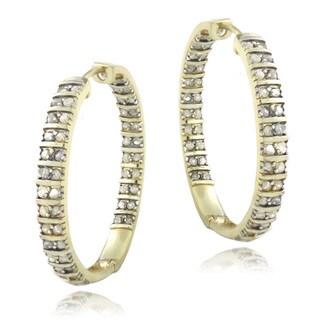 DB Designs 18k Gold Over Silver 1ct (TDW) White Diamond Hoop Earrings (I-J, I2-I3)