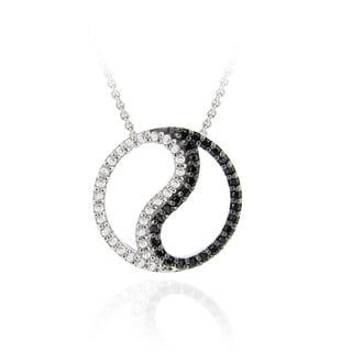 DB Designs Sterling Silver Black Diamond Accent Yin Yang Circle Necklace
