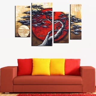 Hand-painted Japanese Tree 4-piece Painting Set|https://ak1.ostkcdn.com/images/products/8682395/P15937211.jpg?impolicy=medium