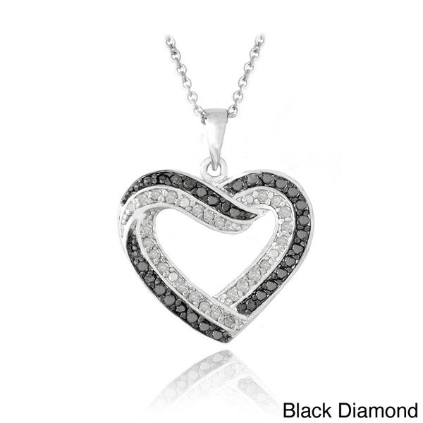 DB Designs Silvertone 1/2ct TDW Black or Blue and White Diamond Heart Necklace