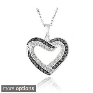 DB Designs Brass 1/2ct TDW Black and White Diamond Heart Necklace