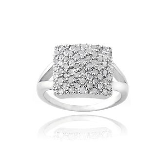 DB Designs Rhodium-plated 3/5ct TDW Diamond Square Ring