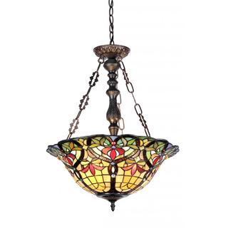 Tiffany-style Victorian-design Dark Antique Bronze Metal/Glass 3-light Inverted Pendant Fixture