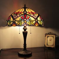 Chloe Tiffany Style Victorian Design 2-light Amber/ Blue Stone Table Lamp
