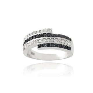 DB Designs Silvertone 1/2ct TDW Black and White Diamond Ring