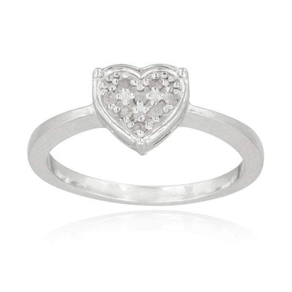 DB Designs Sterling Silver 1/10ct TDW Diamond Heart Promise Ring (I-J, I2-I3)