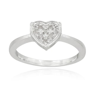 DB Designs Sterling Silver 1/10ct TDW Diamond Heart Promise Ring (I-J, I2-I3)