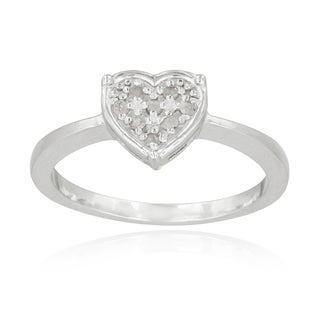 DB Designs Sterling Silver 1/10ct TDW Diamond Heart Promise Ring