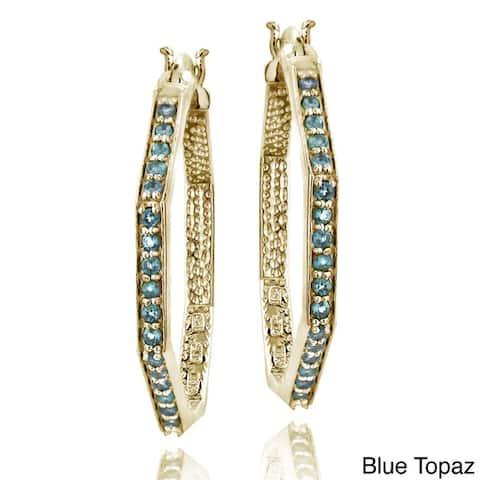 Glitzy Rocks 18k Goldplated 3/4ct TGW Gemstone Octagon Hoop Earrings