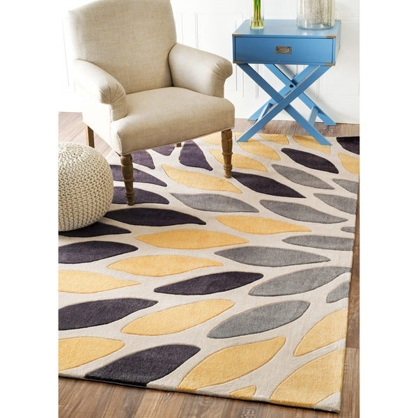 Modern Leaves Rug: Shop NuLOOM Hand-tufted Modern Leaves Polyester Yellow Rug