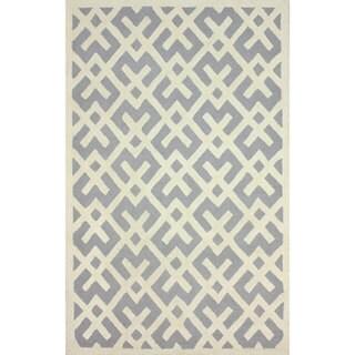 nuLOOM Hand-tufted Modern Teepee Trellis Grey Wool Rug (7'6 x 9'6)