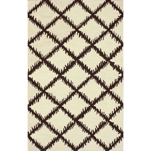 nuLOOM Hand-tufted Modern Trellis Wool Beige Rug (7'6 x 9'6) - 7'6 x 9'6