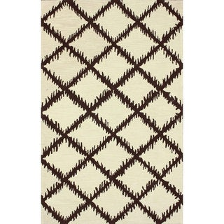 nuLOOM Hand-tufted Modern Trellis Wool Beige Rug (7'6 x 9'6)