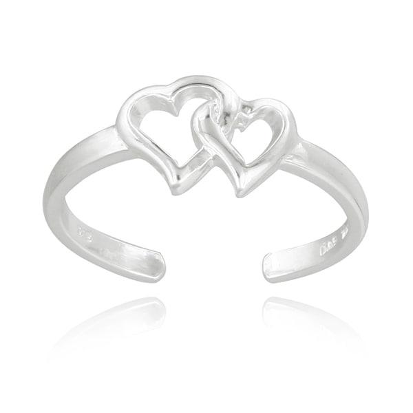 Mondevio Sterling Silver Double Hearts Toe Ring