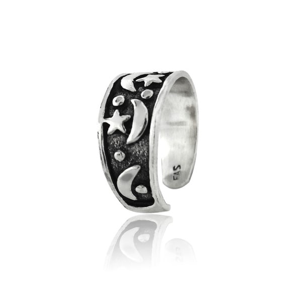 Moon /& Stars Filigree Toe Ring in SOLID 925 Sterling Silver Hearts NEW!