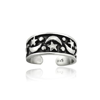 Mondevio Sterling Silver Stars and Moons Design Toe Ring