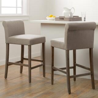 Carbon Loft Cosmopolitan Beige Linen Counter Stools (Set of 2)
