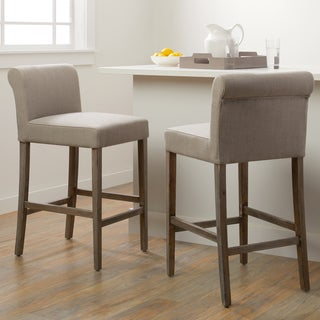 Cosmopolitan Beige Linen Counter Stools (Set of 2)  sc 1 st  Overstock.com : bar stools wood and leather - islam-shia.org