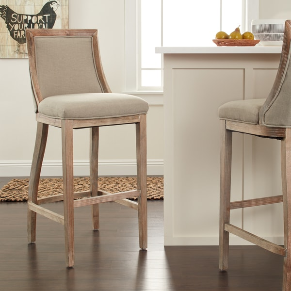 Shop Stones Amp Stripes Park Avenue Beige Linen Bar Stool