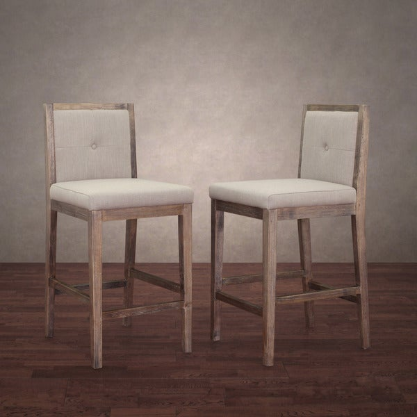 Patterson Beige Linen Counter Stools Set Of 2 Free