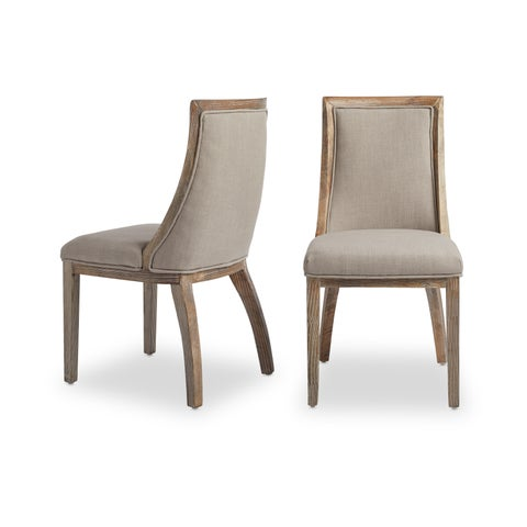 Stones & Stripes Park Avenue Beige Linen Dining Chairs (Set of 2)