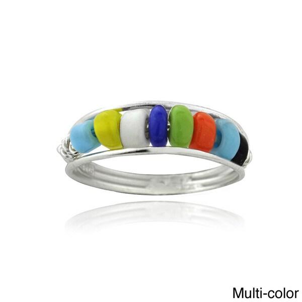 Mondevio Sterling Silver Multi-color Bead Toe Ring