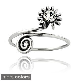Icz Stonez Sterling Silver Cubic Zirconia Flower Toe Ring