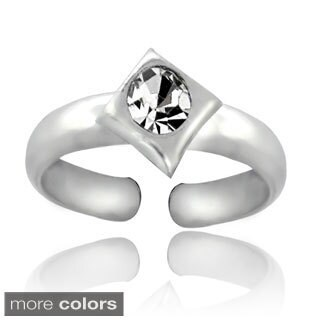Icz Stonez Sterling Silver Cubic Zirconia Diamond-shaped Toe Ring