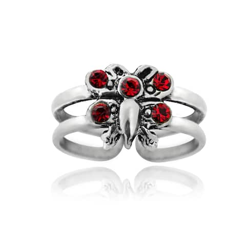 Icz Stonez Sterling Silver Red Cubic Zirconia Butterfly Toe Ring