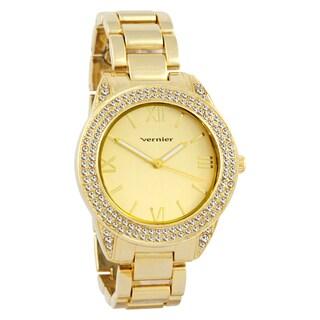 Vernier Women's Curve Case Stone Bezel Gold-Tone Bracelet Watch