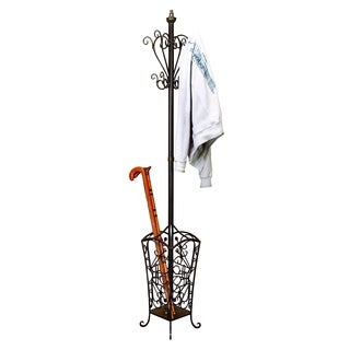 Metal Coat Rack with Bottom Basket