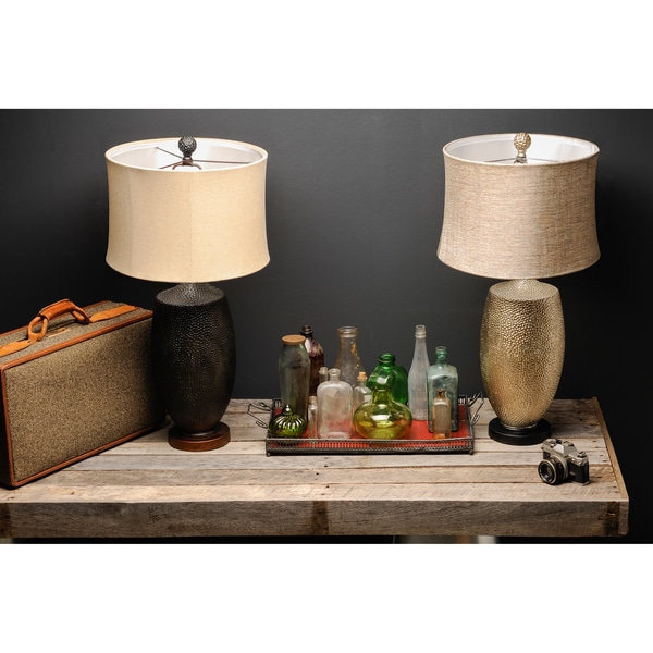 Bold Hammered Metallic Lamp