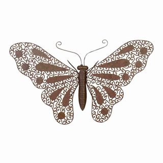 Antique Brown Metal Butterfly Decorative Piece