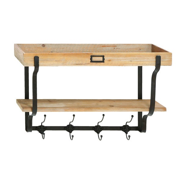 Functional Multilevel Wall Shelf With Hooks
