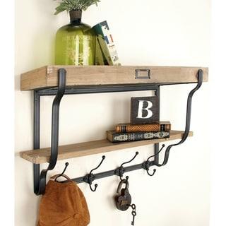 Functional Multilevel Wall Shelf with Hooks