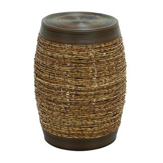 Unique Barrel Shape Bamboo Weave Stool