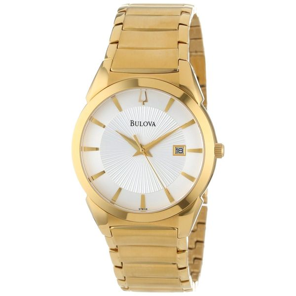 5ded93e90c5f Shop Bulova Men s 97B108  Dress  Yellow Gold-Plated Stainless Steel  Japanese Quartz Watch - Free Shipping Today - Overstock - 8682897