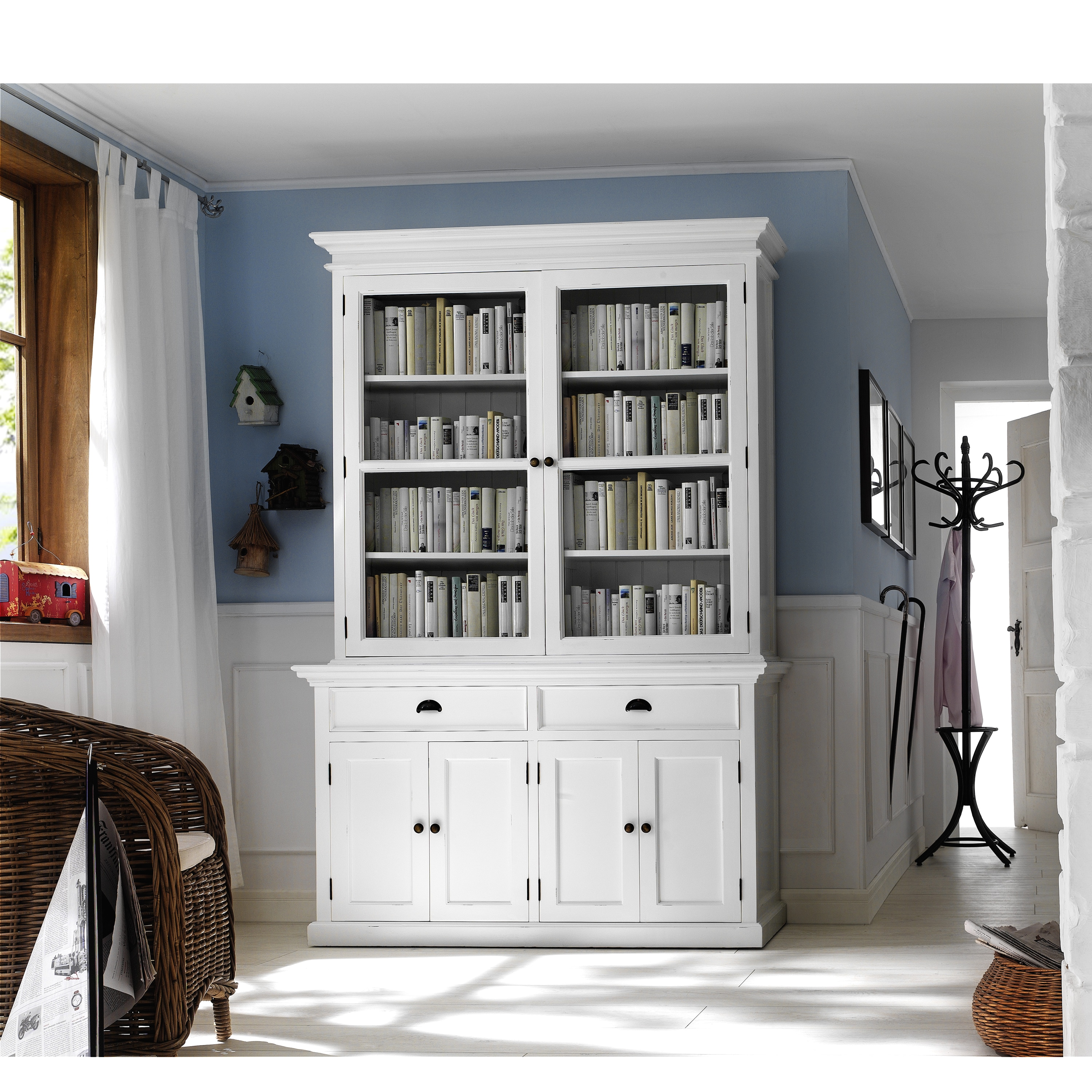 Image of: Shop Black Friday Deals On Interior White Kitchen Buffet With Double Glass Door Hutch Overstock 8684133