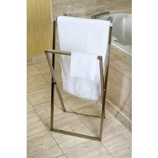 Satin Nickel Pedestal Cross Style Iron Construction Towel Rack