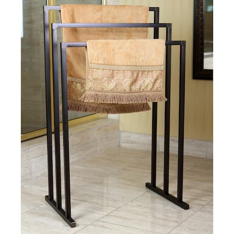 Pedestal Oil Rubbed Bronze 3-tier Iron Towel Rack - Brown