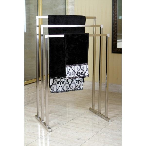 Shop Pedestal Satin Nickel 3 Tier Iron Towel Rack Free