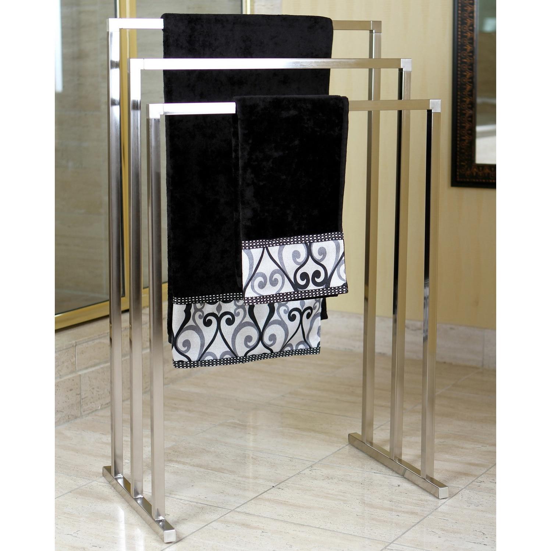 Details about Pedestal Satin Nickel 3-tier Iron Towel Rack