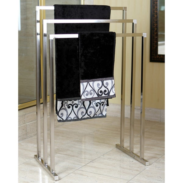 Pedestal Satin Nickel 3-tier Iron Towel Rack