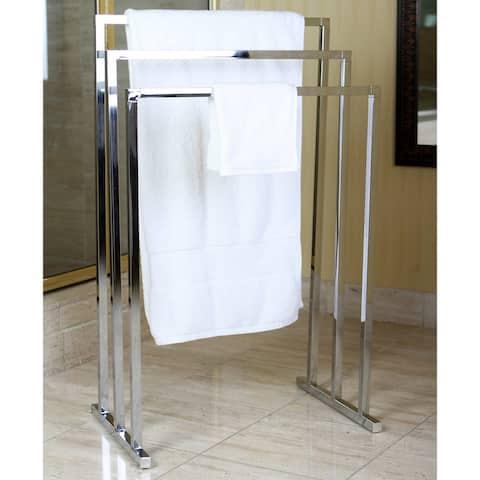 Chrome Pedestal 3-tier Iron Construction Towel Rack