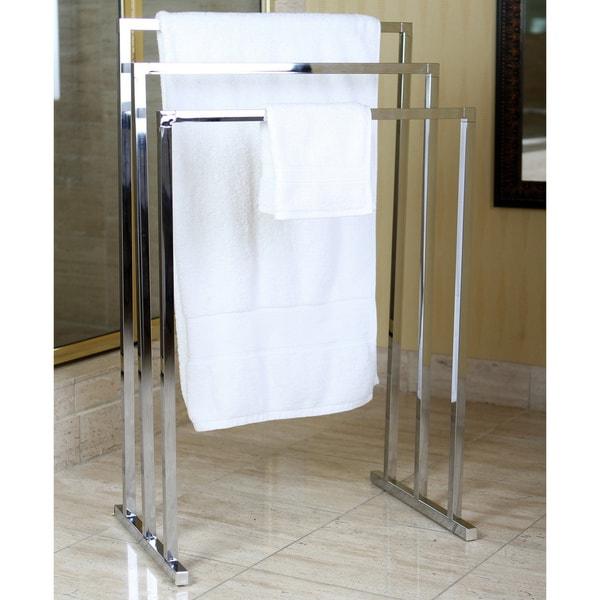Chrome Pedestal 3-tier Iron Construction Towel Rack. Opens flyout.