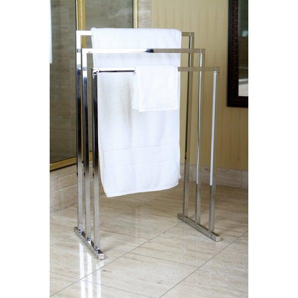Shop Chrome Pedestal 3 Tier Iron Construction Towel Rack Free Shipping Today